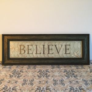 Other - Believe Wall Decor Picture Aqua c/ Dragon Fly